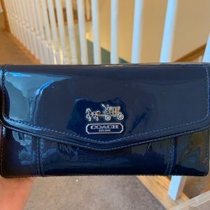 Navy Blue Patent Leather Coach Wallet